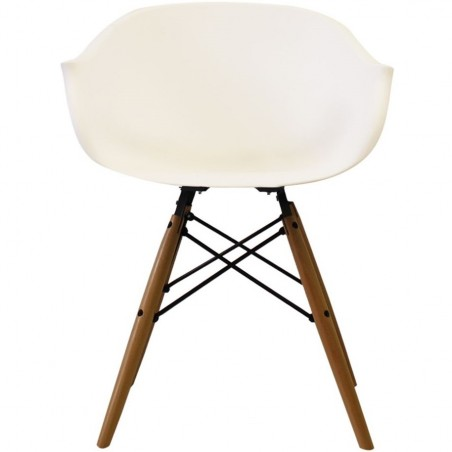Eames Style DAW dining armchair in white and natural wooden legs front view