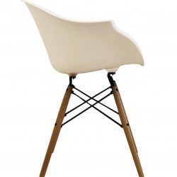 Eames Style DAW dining armchair in white and natural wooden legs side view
