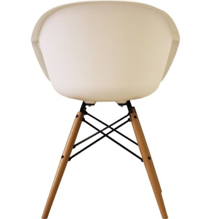 Eames Style DAW dining armchair in white and natural wooden legs rear view