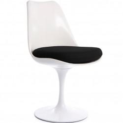 Eero Saarinen Inspired Tulip Style Chair black  angle view