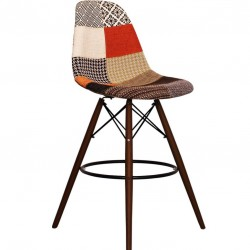 Charles Ray Eames inspired Patchwork DSB Bar Stool Walnut Legs  angle view