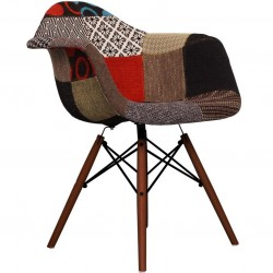 Charles Ray Eames inspired Patchwork DAW Armchair multi  walnut angle view
