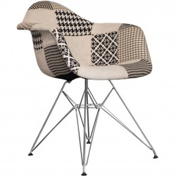 Charles Ray Eames inspired Patchwork DAR Armchair black and white  angle view