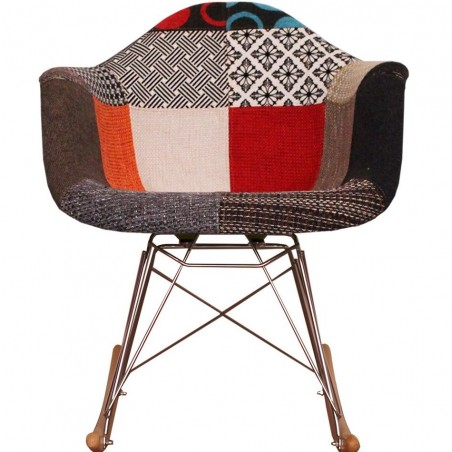 Eames inspired Patchwork RAR Rocking Chair natural legs front view