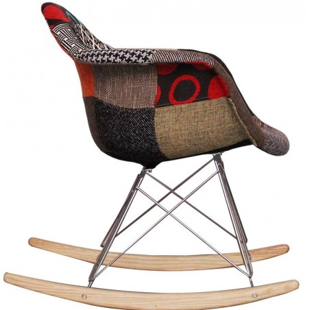 Eames inspired Patchwork RAR Rocking Chair natural legs side view