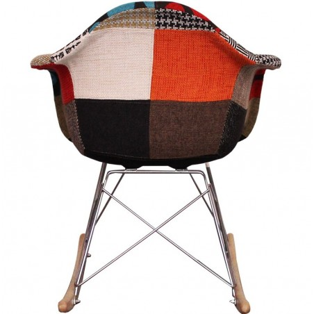 Eames inspired Patchwork RAR Rocking Chair natural legs rear view