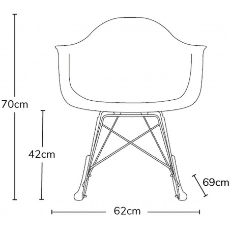 Charles Ray Eames inspired Patchwork RAR Rocking Chair measurements