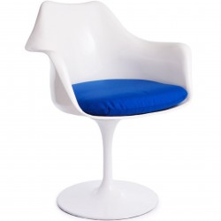 Blue Cushion Tulip Style Armchair - Angled View