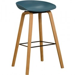 Teal Vogue Low Back Bar Stool Natural Legs - Angled View