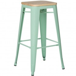 Peppermint Tolix Style Stool with Natural Wood Seat - Angled View
