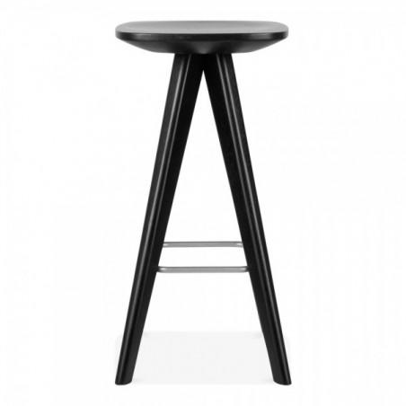 Scandinavian black wooden bar stool 3