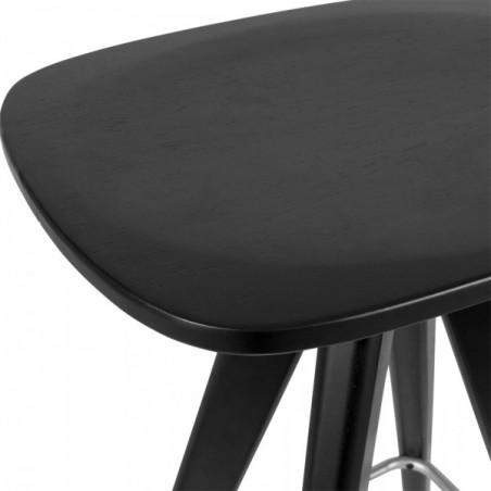 Scandinavian black wooden bar stool seat