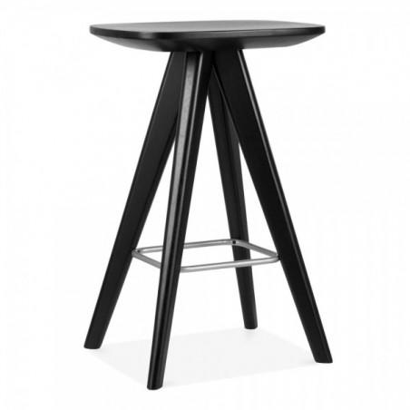 Scandinavian black wooden bar stool