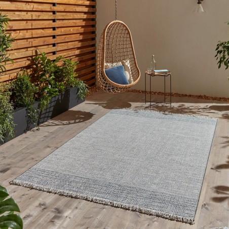 Tweed 9743 Rug - Beige/ Blue Outdoor Mood Shot