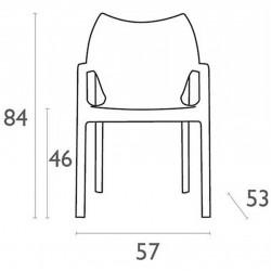 Terni Plastic Garden Chair - Dimensions