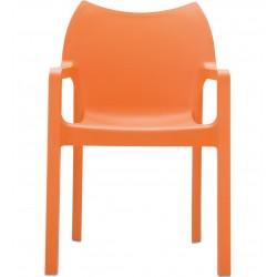 Terni Plastic Garden Chair - Orange Front View