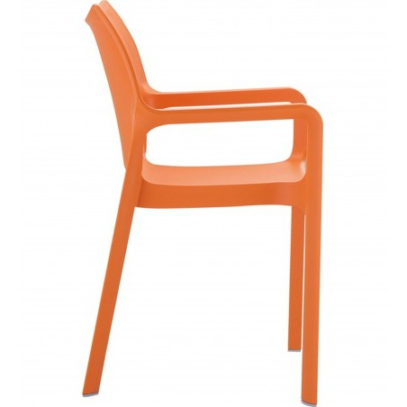 Terni Plastic Garden Chair - Orange Side View