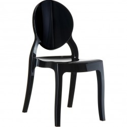 Elizabeth Ghost Style  Plastic Chair - Black