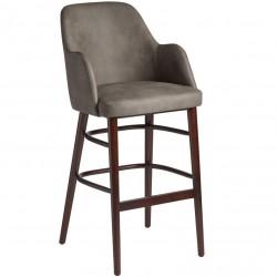 Cramer Faux Leather Upholstered Bar Stool Steel Grey