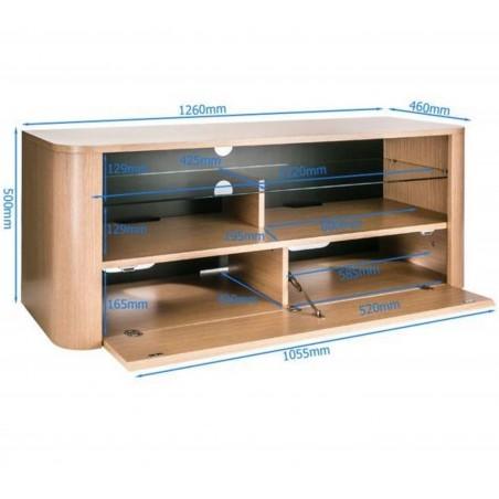 Alphason Hugo Light Oak  TV Unit  Dimensions