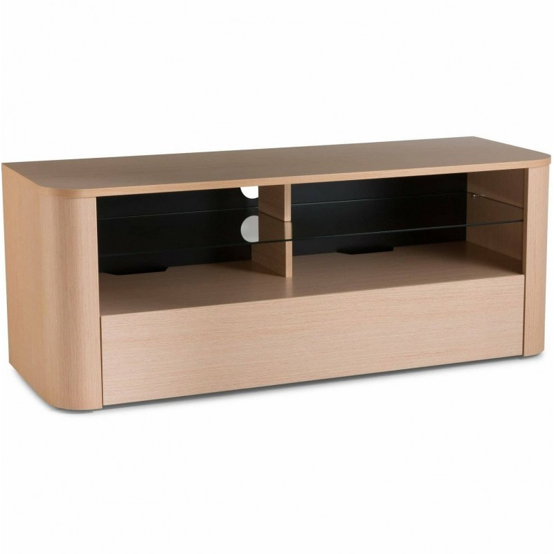 Alphason Hugo Light Oak TV Cabinet with Strengthened Glass Shelf