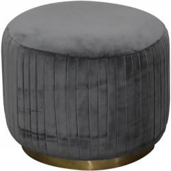Nava  Velvet Pleated Footstool - Grey
