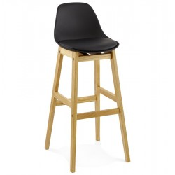 black faux leather wooden-framed bar stool front angle