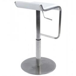 Maglia Pelle Height Adjustable Bar Stool White Back Angle