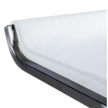 Maglia Pelle Height Adjustable Bar Stool White Seat