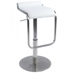 Maglia Pelle Height Adjustable Bar Stool White Angle