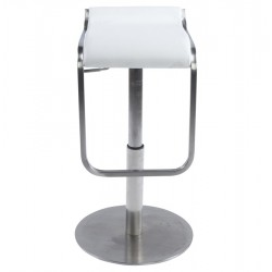 Maglia Pelle Height Adjustable Bar Stool White Front