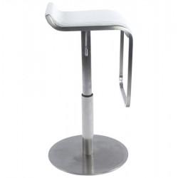 Maglia Pelle Height Adjustable Bar Stool White Side