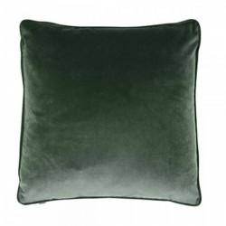 Piped edge velvet fabric cushion in dark green