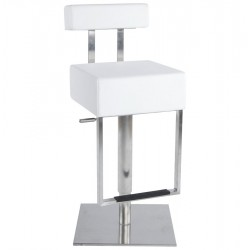 Fornido Height Adjustable Bar Stool White Angle