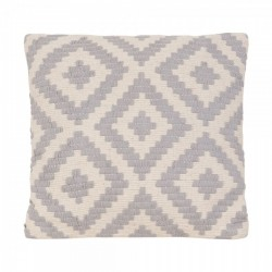 An image of Geometric Aztec Grey And White Woven Cushion