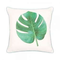 Cheese plant palm fabric cushion in cream and green, front view