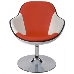 Brazo Egg Chair White and Red Front