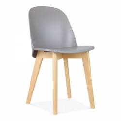 wooden dining chair in grey poly seat and beech legs
