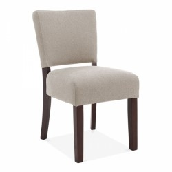 wool dining chair with dark brown wooden legs in cream