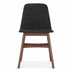 Modern wooden dining chair in dark grey and dark wood