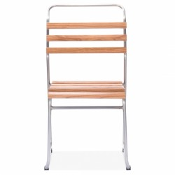 french style metal chairs with wooden slats in galvanised steel 2