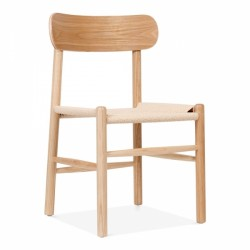 Scandinavian inspired wooden chair with natural wood and natural rattan