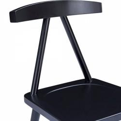 minimalist wooden dining chair in black 2 seat shot