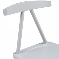 minimalist wooden dining chair in grey seat shot