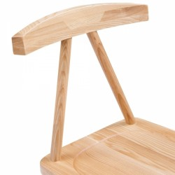 minimalist wooden dining chair in natural seat shot
