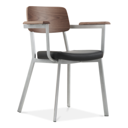 wood and metal arm chair with black seat oak back and grey metal frame
