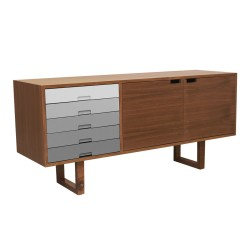 Bacton Walnut and Grey Sideboard Angle