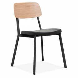 Metal dining chair with black metal frame and natural wooden back with black faux leather seat