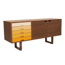 Walnut/Yellow Sideboard Angle