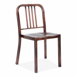 Navy inspired metal chair with a brushed copper finish